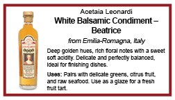 shelf talker beatrice white balsamic condiment